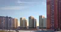 Город Долгопрудный, микрорайон «Центральный», коллаж с существующими домами со стороны Нового бульвара