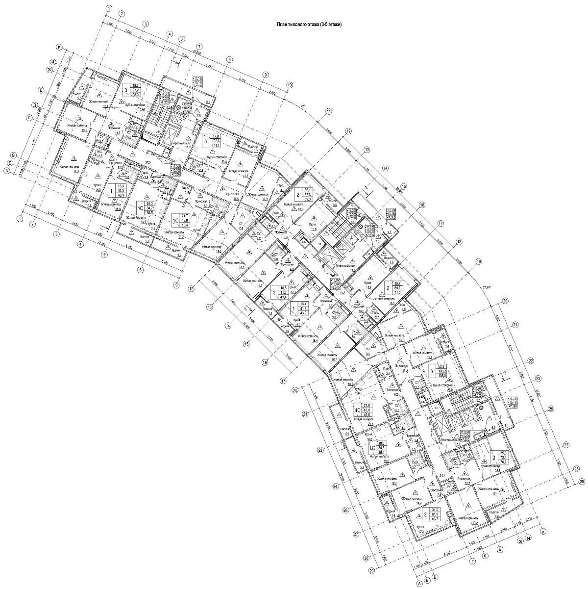 План типового этажа корпуса 52б
