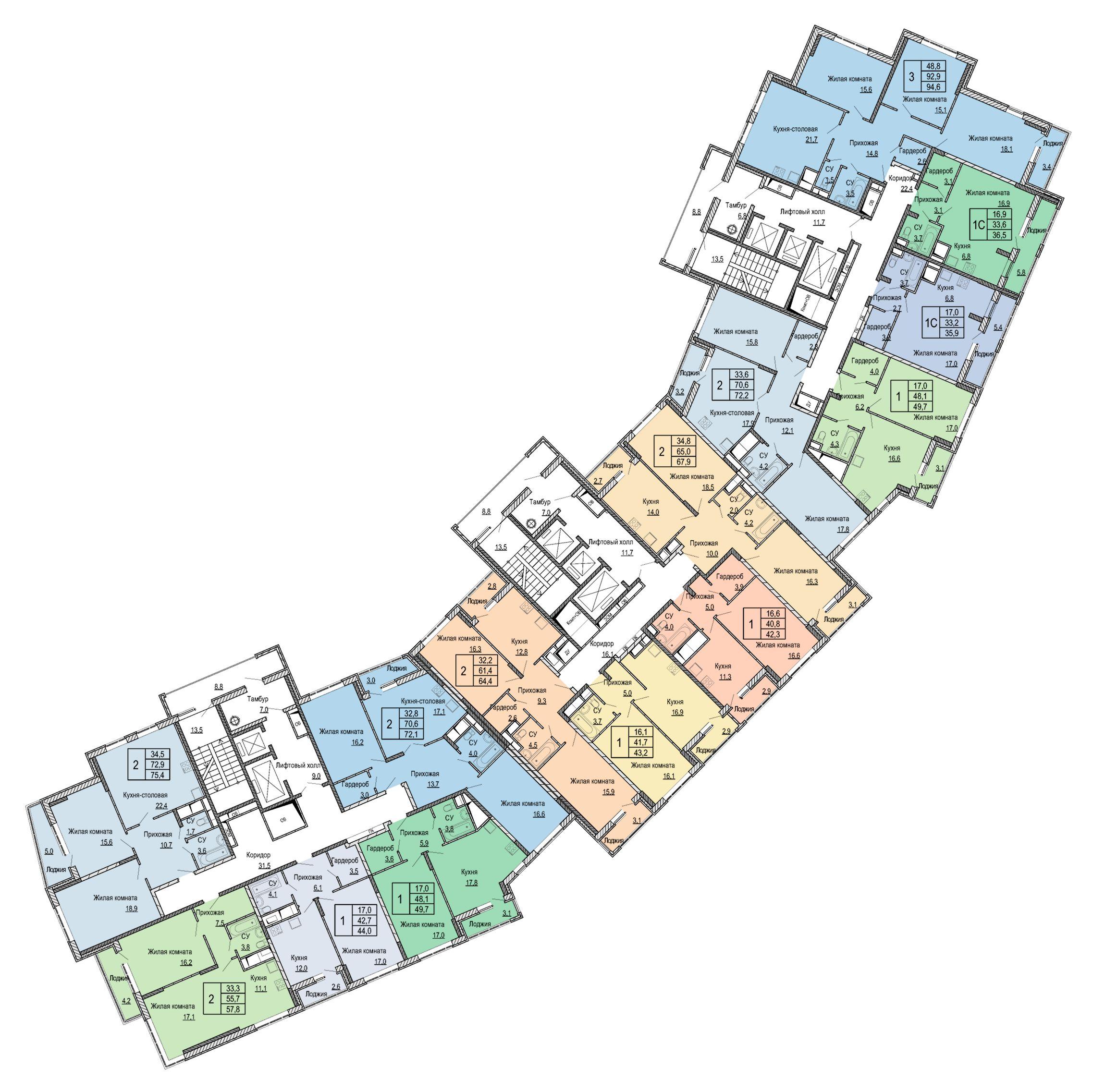 Микрорайон «Центральный», корпус 52в, план 2-го этажа