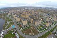 Город Долгопрудный, ЖК «Московские водники» с высоты птичьего полета со стороны ул. Набережная