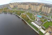 Город Долгопрудный, ЖК «Московские водники», набережная канала им. Москвы с высоты птичьего полета