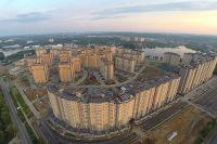Город Долгопрудный, ЖК «Московские водники» с высоты птичьего полета со стороны Дмитровского шоссе