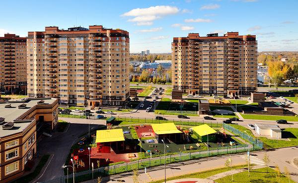 Город Долгопрудный, ЖК «Московские водники», вид на детский сад №14 «Жемчужинка»